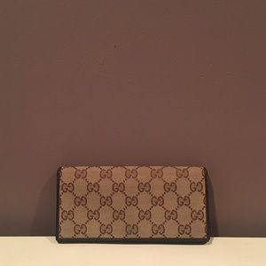 GUCCI Monogram Canvas Long Leather Wallet
